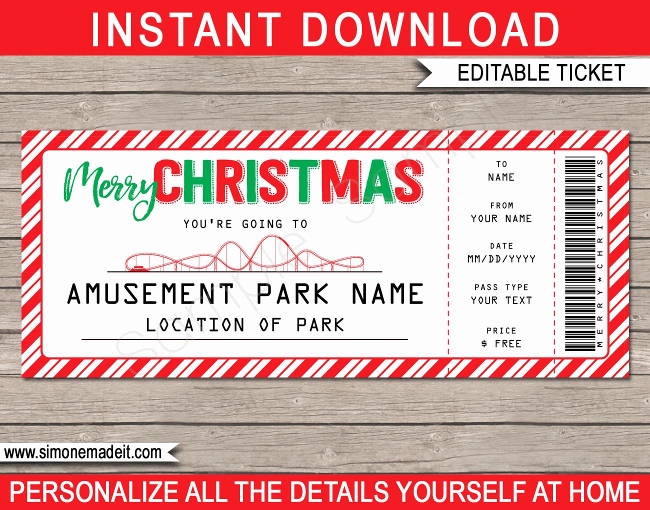 Printable Fake Tickets Beautiful Printable Amusement Park Christmas Gift Tickets