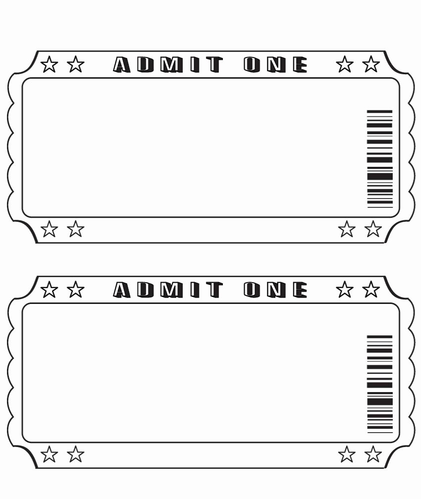 Printable Fake Tickets Fresh Blank Ticket … Diy and Crafts