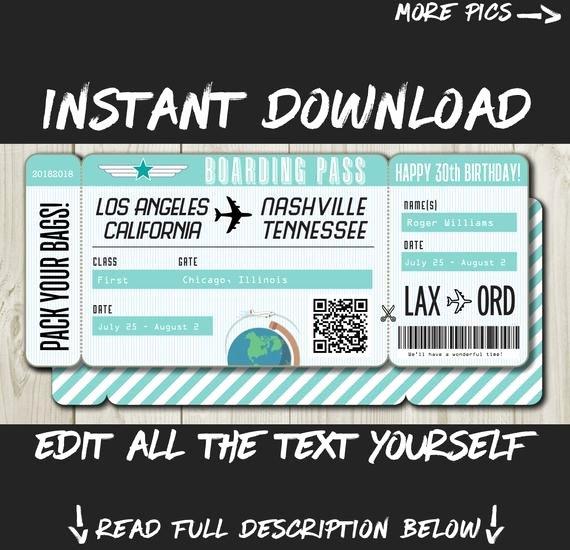 Printable Fake Tickets Fresh Diy Printable Editable Boarding Pass Surprise Fake Airline