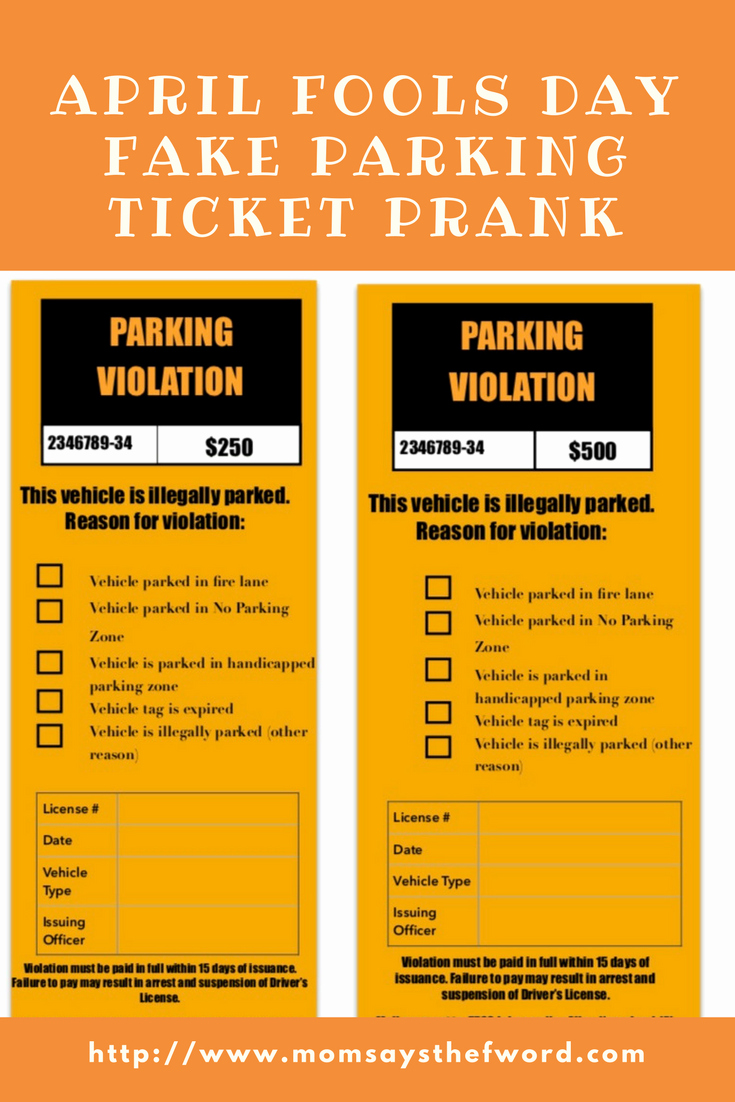 Printable Fake Tickets New Check Out This Free Printable Fake Parking Ticket It S