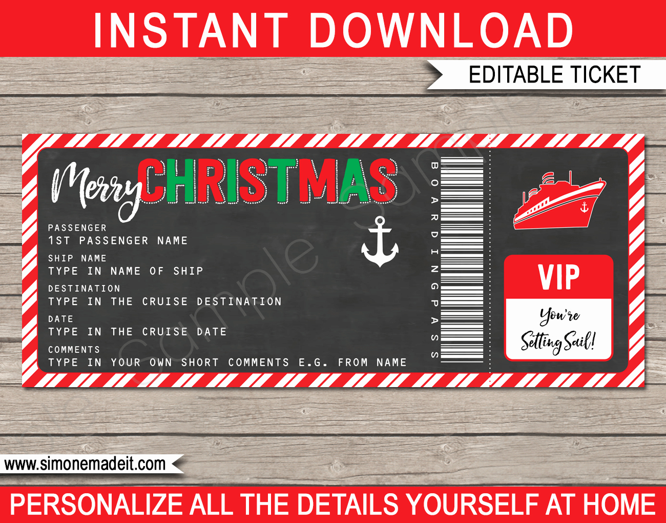 Printable Fake Tickets New Christmas Gift Cruise Ticket Template