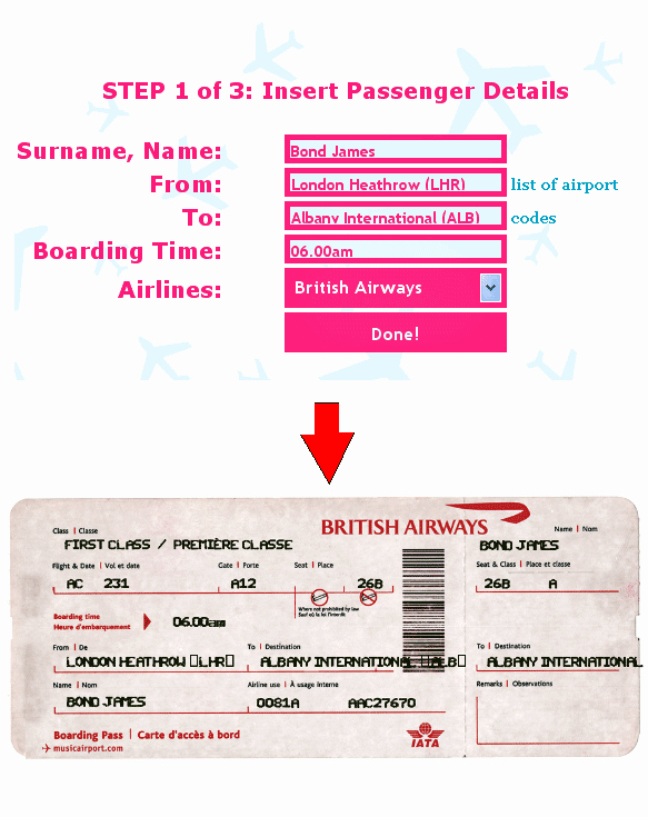 Printable Fake Tickets Unique Ticket O Matic Fake Airline Ticket Generator