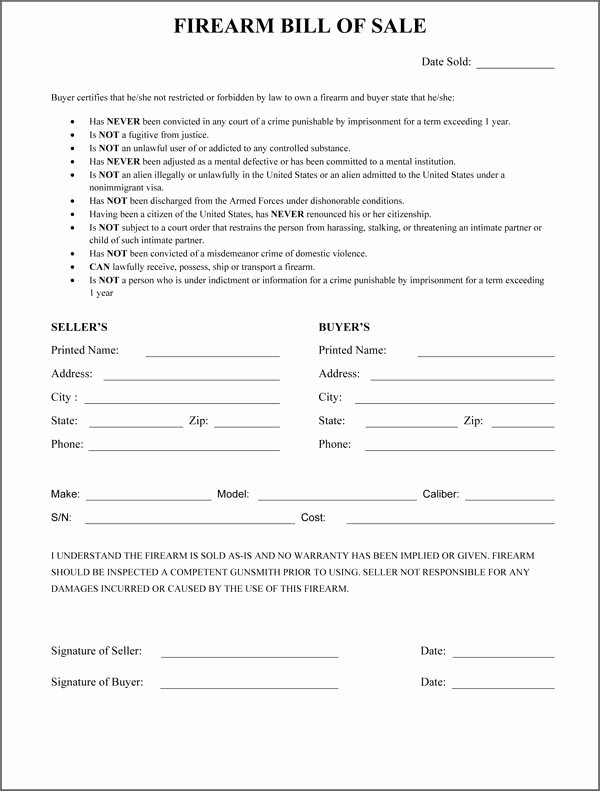 Printable Firearms Bill Of Sale New Firearm Bill Sale Word Excel Samples