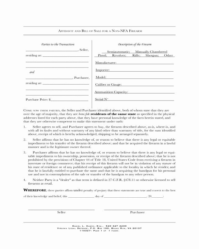 Printable Firearms Bill Of Sale Unique Firearm Bill Of Sale form Virginia Edit Fill Sign