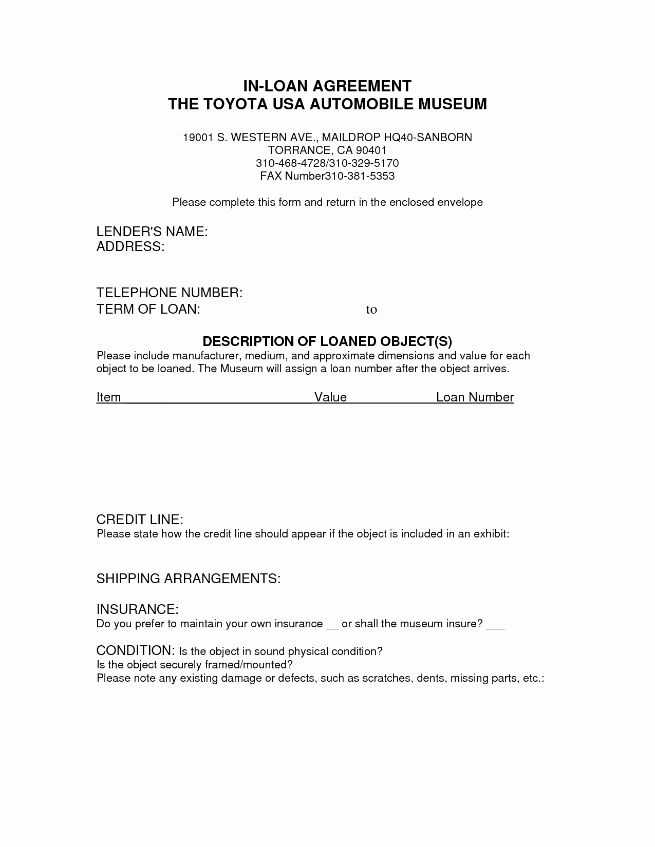 Printable Loan Agreement Lovely Free Printable Loan Agreement form form Generic