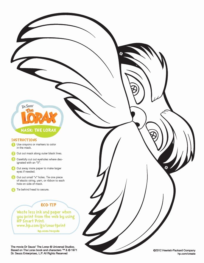 Printable Lorax Mustache and Eyebrows Unique the Lorax Mask Printable Coloring Pages