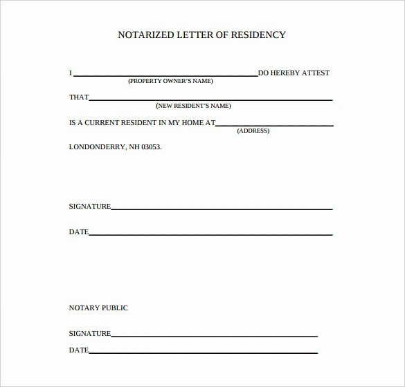 Printable Notarized Letter Of Residency Template Beautiful 7 Notarized Letter Template Doc Pdf