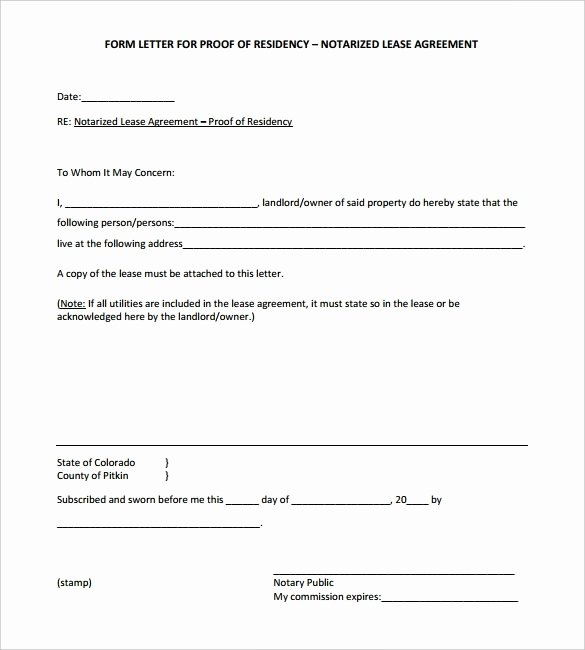 Printable Notarized Letter Of Residency Template Beautiful Letter Residence to Be Notarized