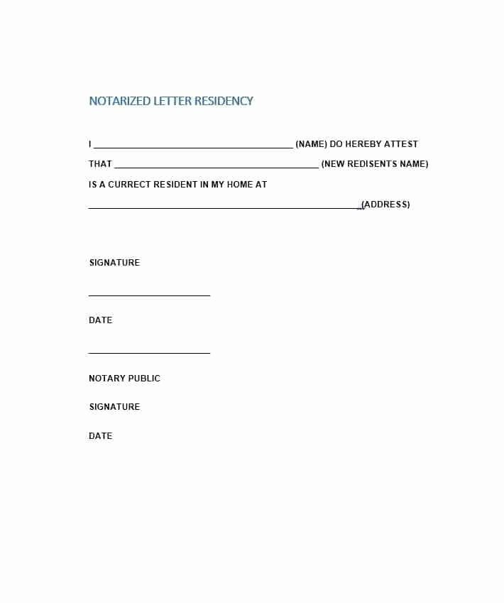 Printable Notarized Letter Of Residency Template Best Of Free Notarized Letter Template Sample format Example
