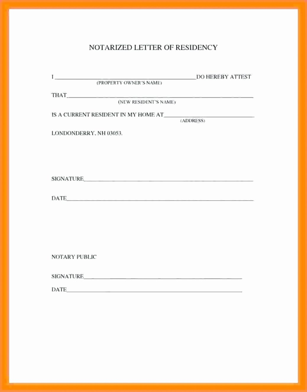 Printable Notarized Letter Of Residency Template Elegant Notarized Letter Template for Residency Gallery