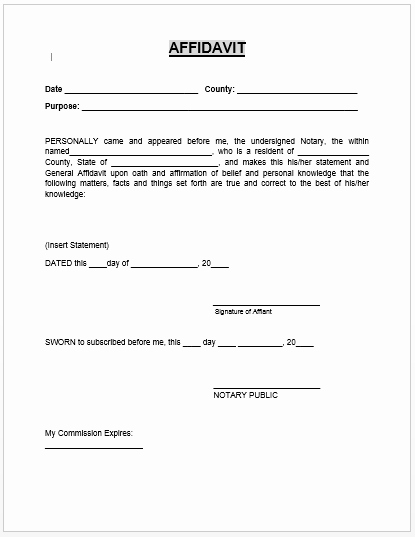 Printable Notarized Letter Of Residency Template Unique Affidavit form Microsoft Word Templates