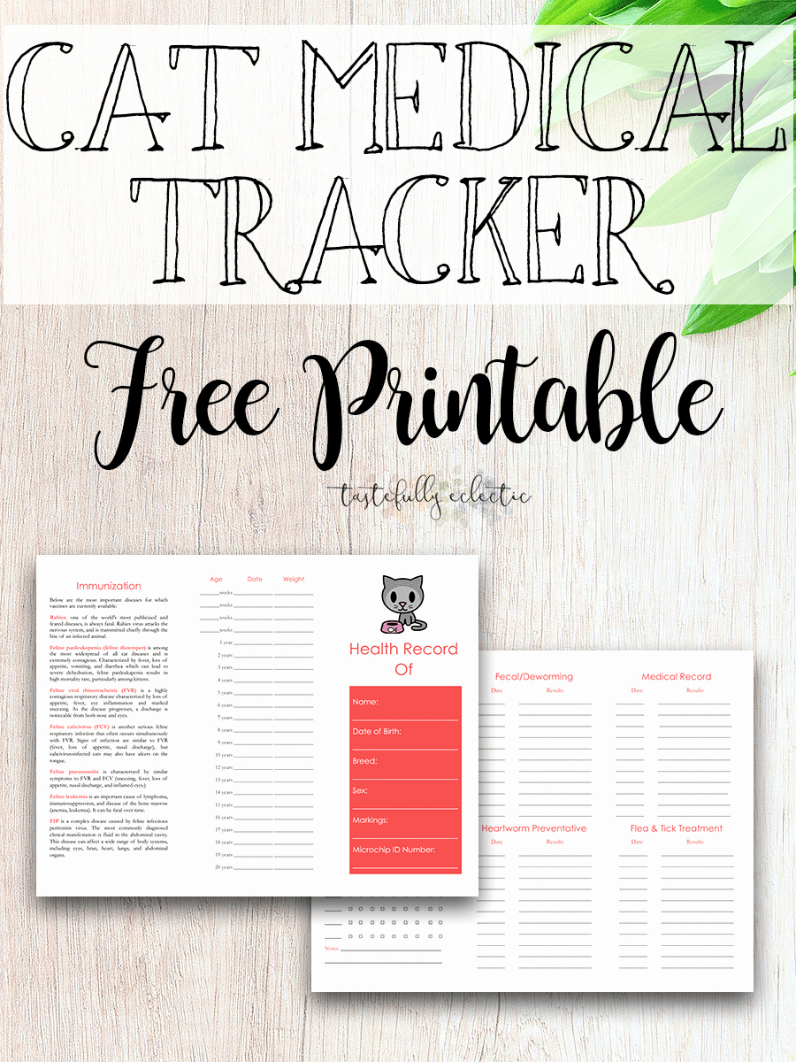 Printable Puppy Shot Record Awesome Cat Immunization & Medical Tracker Free Printable