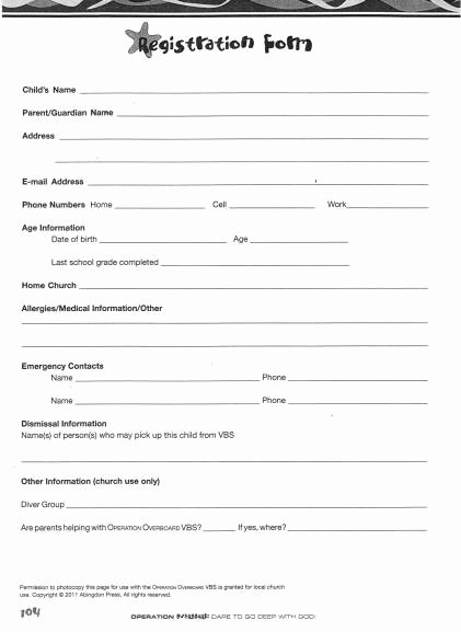 graphic about Printable Church Nursery Forms called Printable Registration type Template Peterainsworth