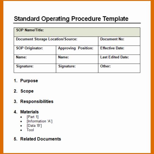 Procedure Templates Word Elegant 11 Standard Operating Procedure Template Word