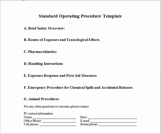 Procedure Templates Word Elegant 37 Best Free Standard Operating Procedure sop Templates