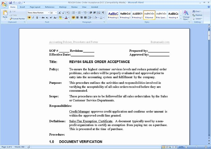 Procedure Templates Word Fresh Policy and Procedure Template Microsoft Word