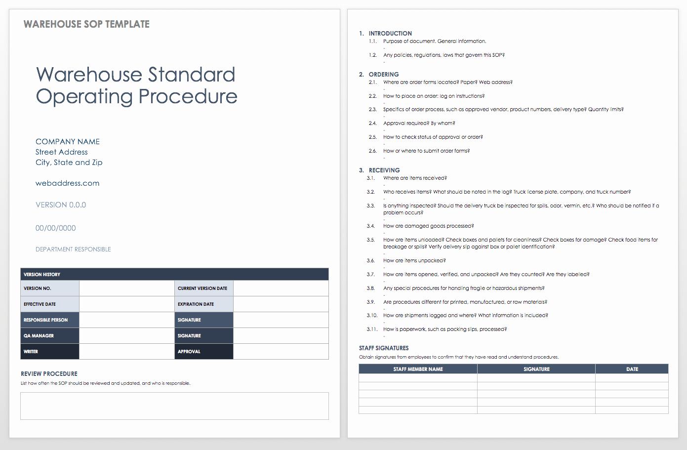 Procedure Templates Word Lovely Standard Operating Procedures Templates