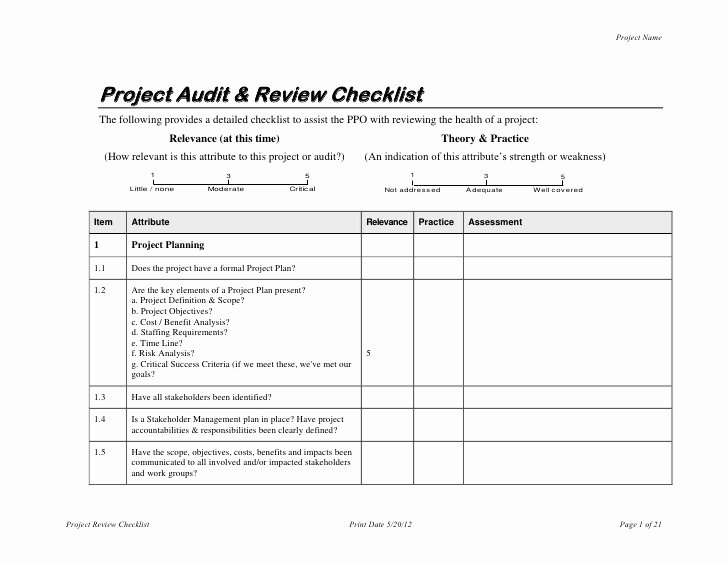 project audit review checklist