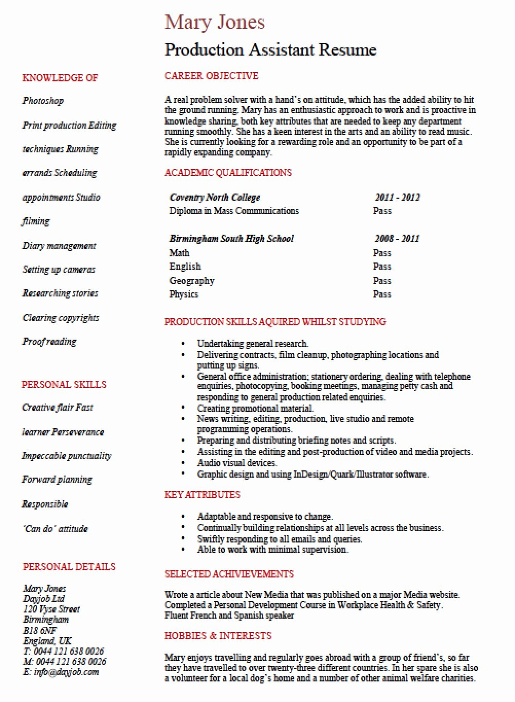 Production assistant Resume Examples Awesome Free Entry Level Production assistant Resume Template