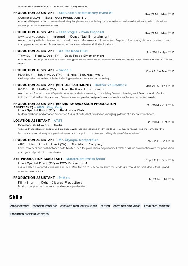 Production assistant Resume Examples Awesome Maureen Edwards Production assistant Resume