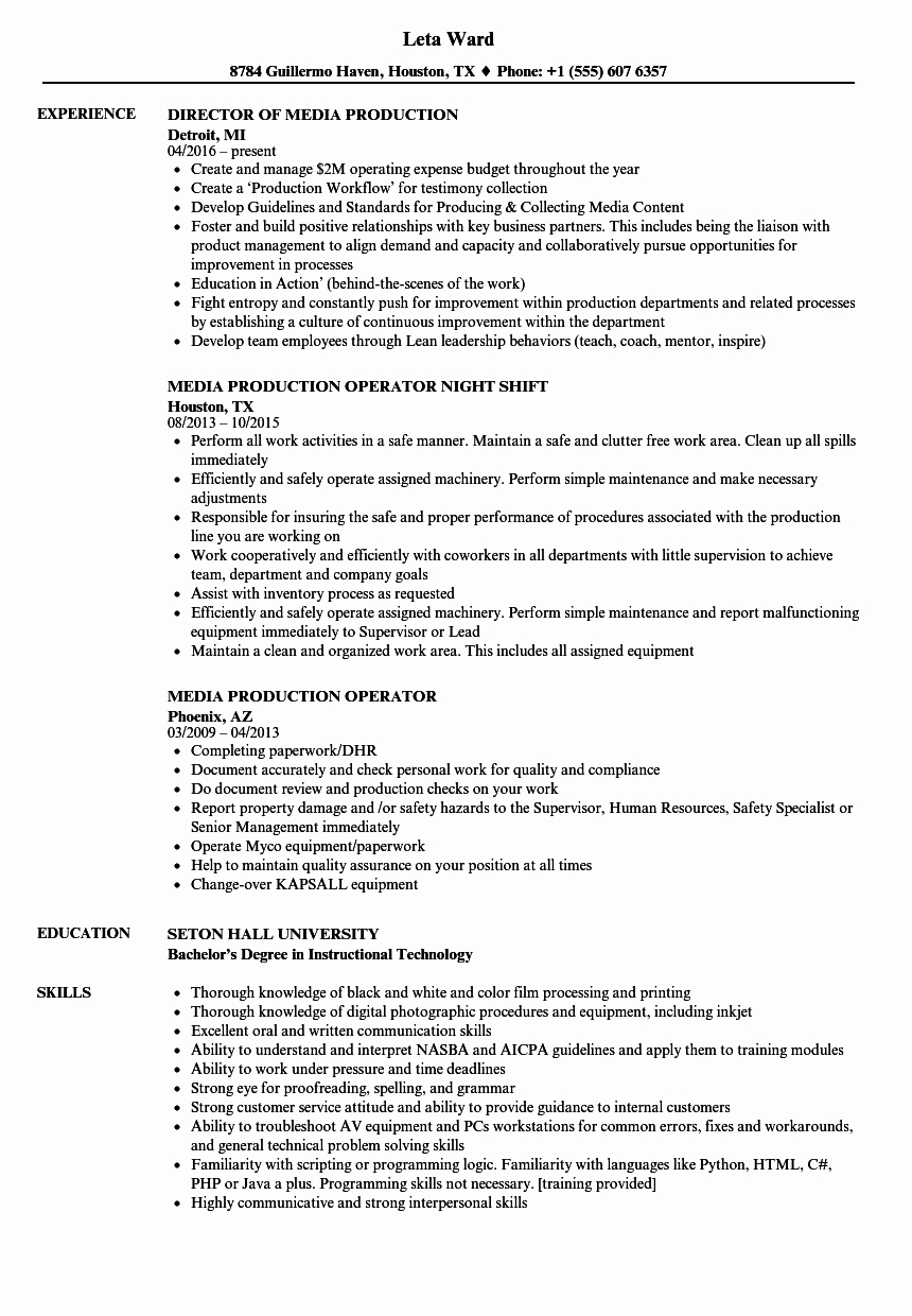 Production assistant Resume Examples Beautiful Media Production Resume Samples