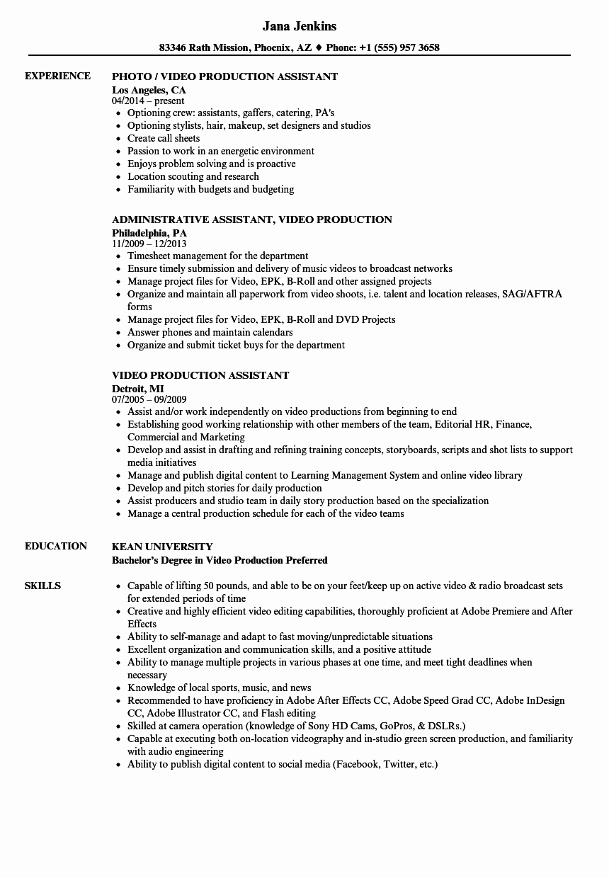 Production assistant Resume Examples Beautiful Video Production assistant Resume Samples
