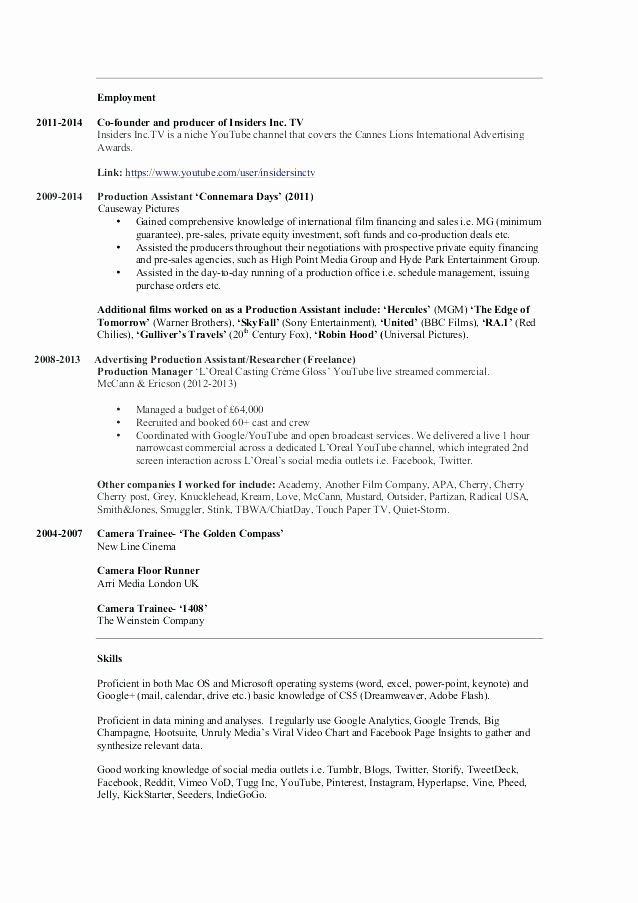 Production assistant Resume Examples Best Of Sample Resume for Production assistant In
