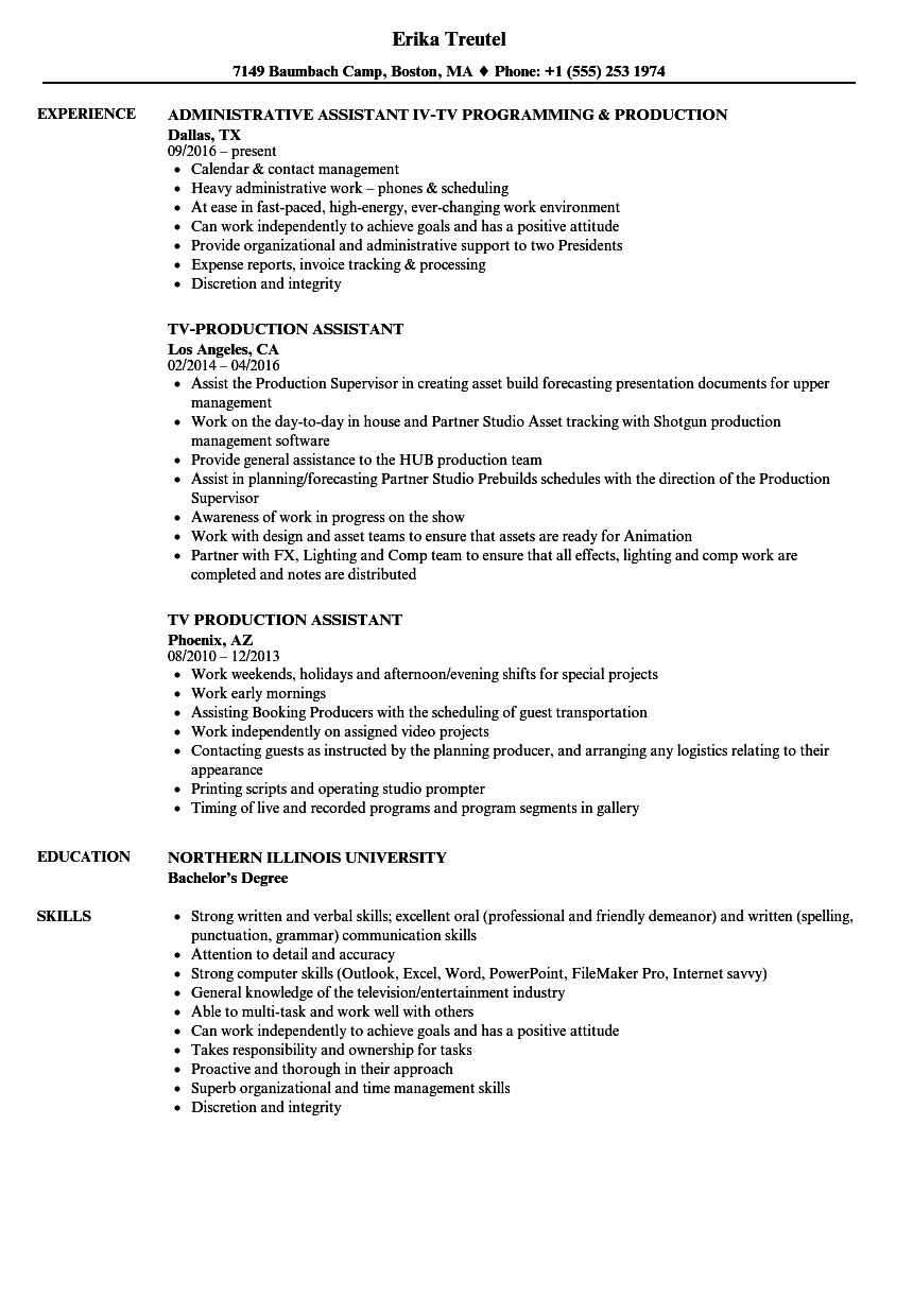 Production assistant Resume Examples Elegant Tv Production assistant Resume Samples