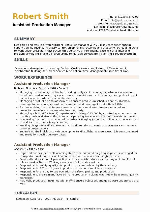 Production assistant Resume Examples Fresh assistant Production Manager Resume Samples