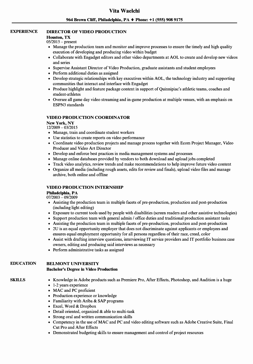 Production assistant Resume Examples Inspirational Video Production Resume Samples