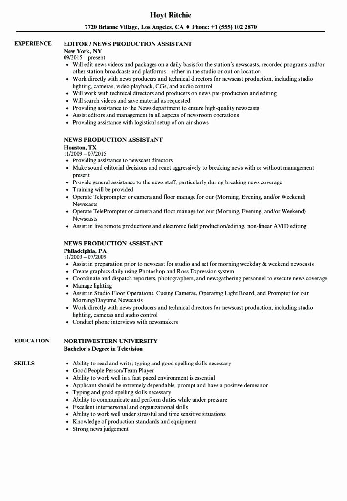 Production assistant Resume Examples New Usyhnews