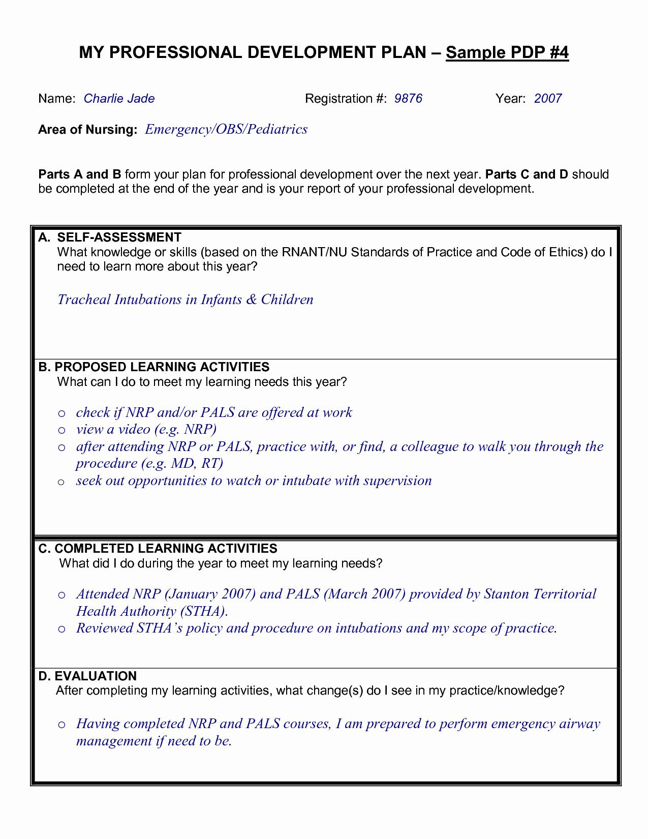 Professional Development Plan for Teachers Template Unique Sample Professional Development Plan