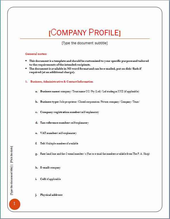 pany profile template