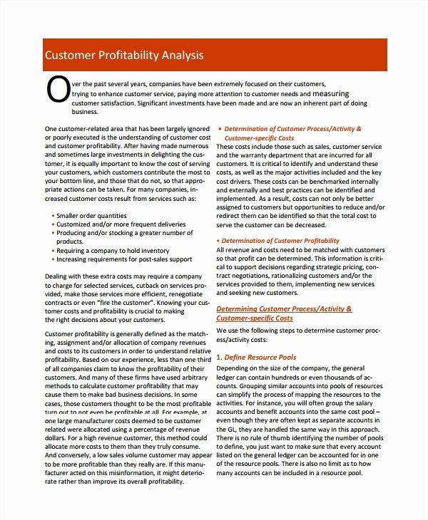 Profitability Analysis Template Inspirational 7 Customer Profitability Analysis Templates Pdf
