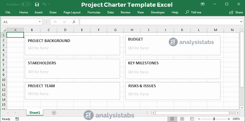 Project Charter Template Excel Lovely Project Charter Template Excel Analysistabs Innovating
