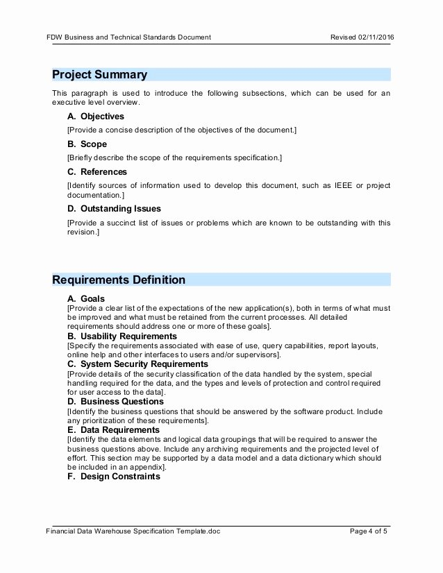 Project Requirements Document Example Unique Template Fdw Business Requirement Document