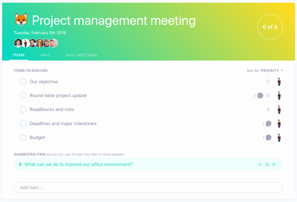 project management meeting agenda