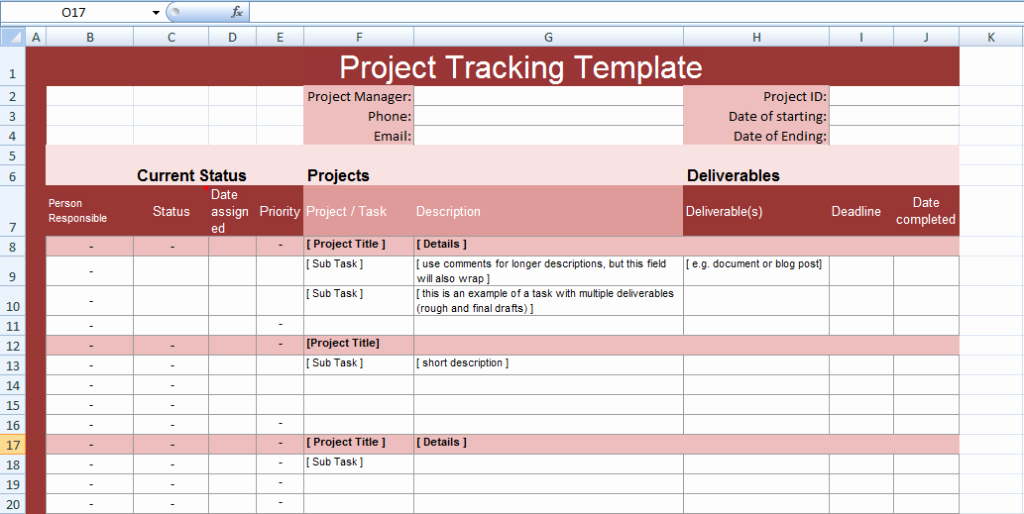 Project Status Template Excel Fresh Multiple Project Tracking Templates for Excel