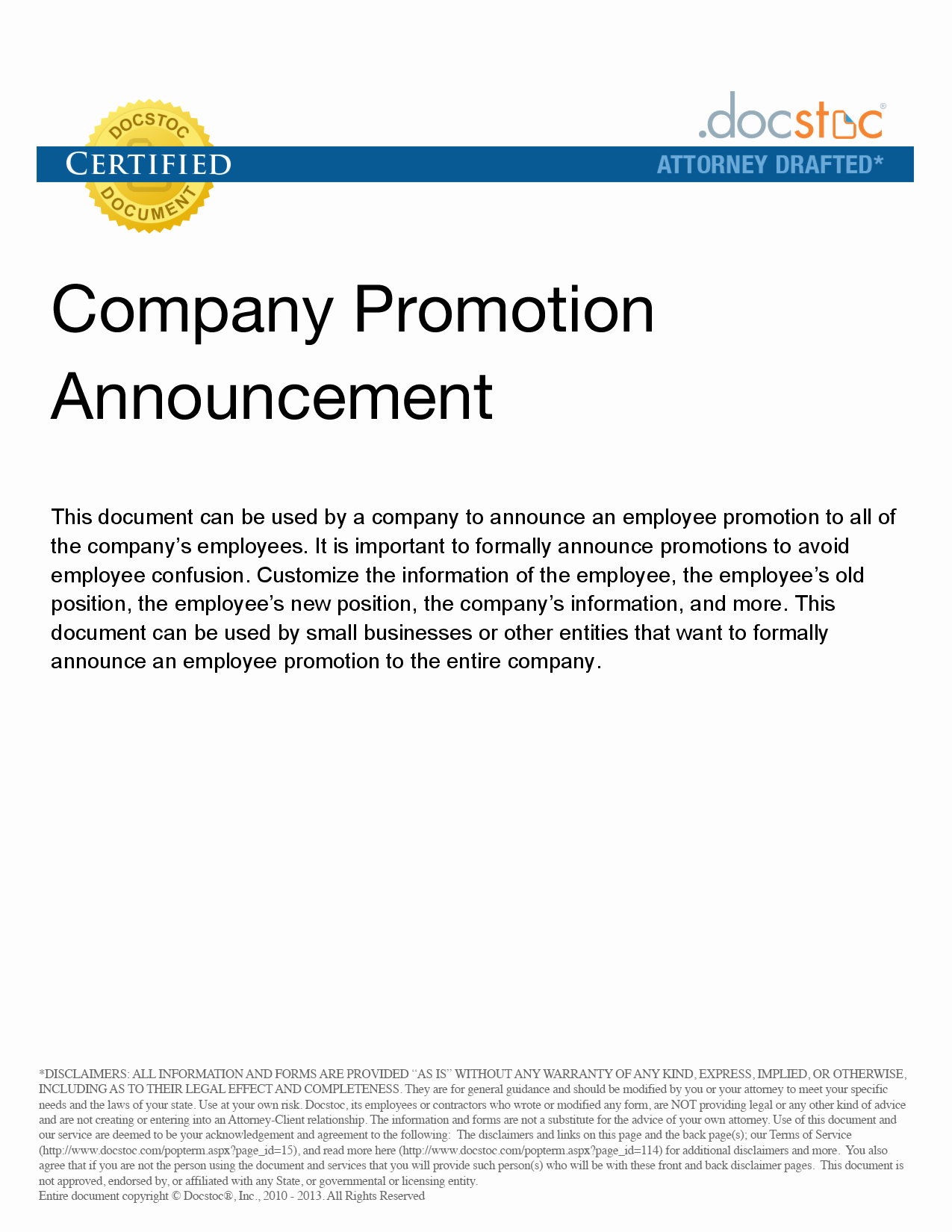 post job promotion announcement examples