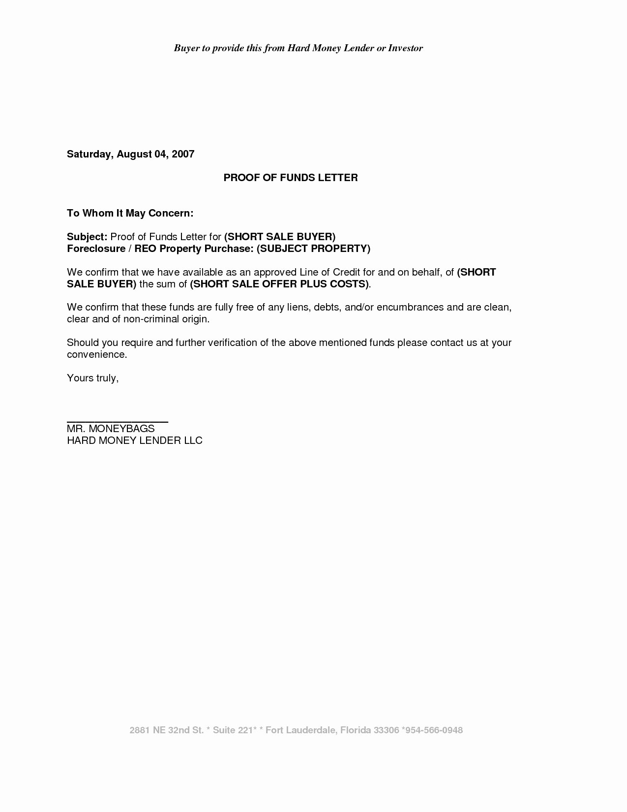 Proof Of Funds Letter Inspirational School Secretary Cover Letter Template Examples