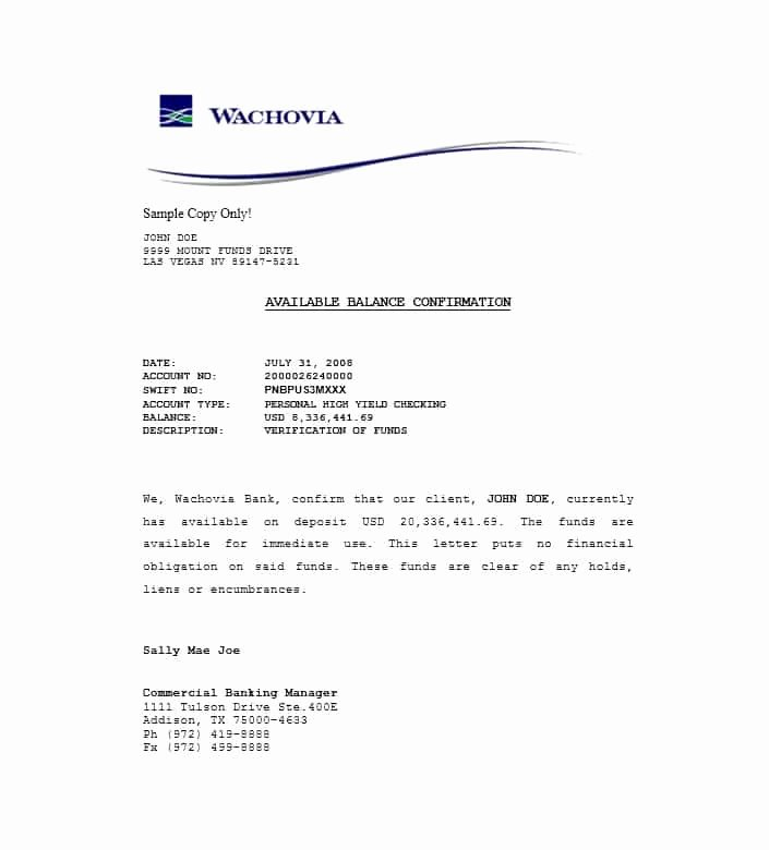 Proof Of Funds Letter Template Lovely 25 Best Proof Of Funds Letter Templates Template Lab