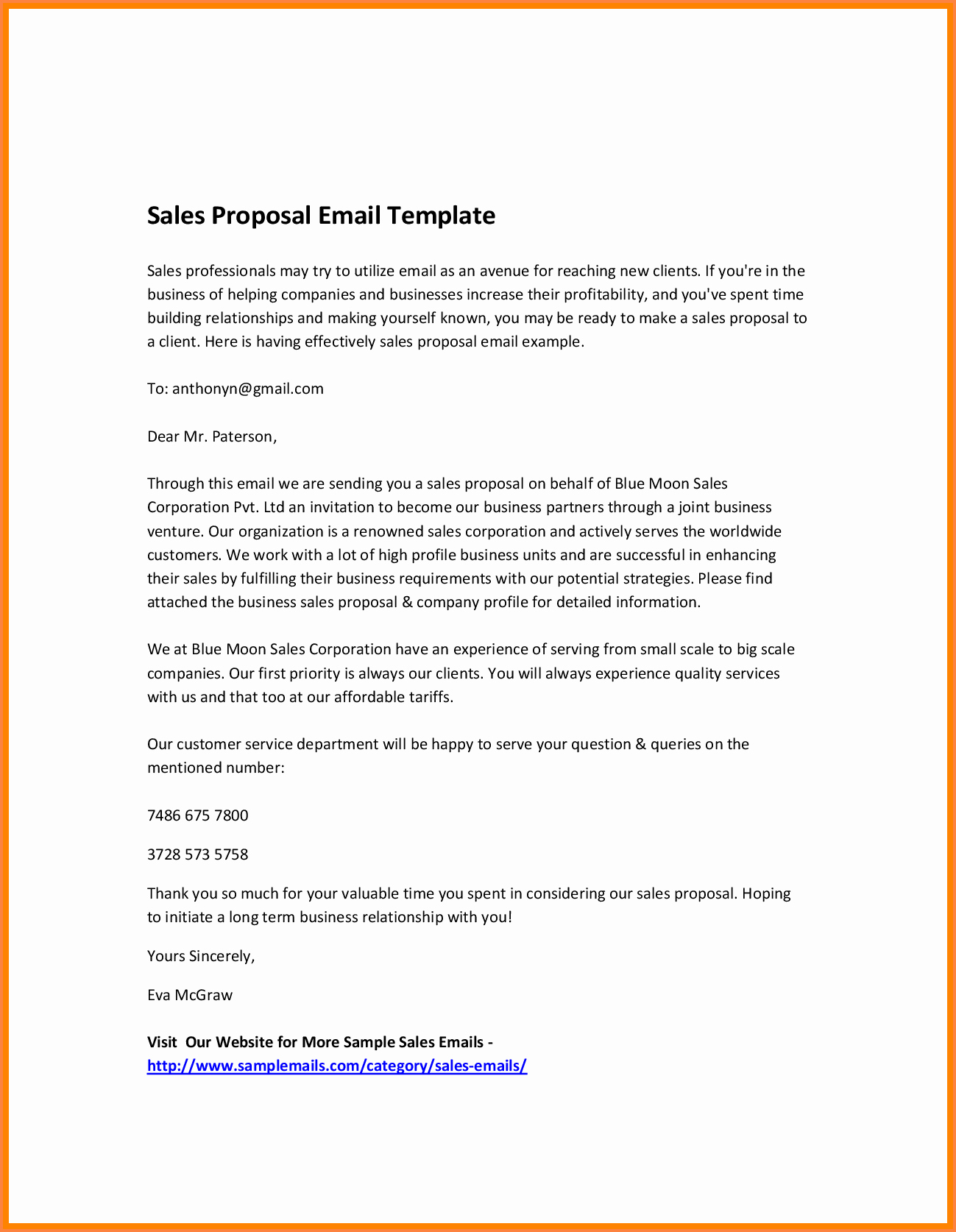 Proposal Email Sample Lovely 7 Email for Business Proposal with Example