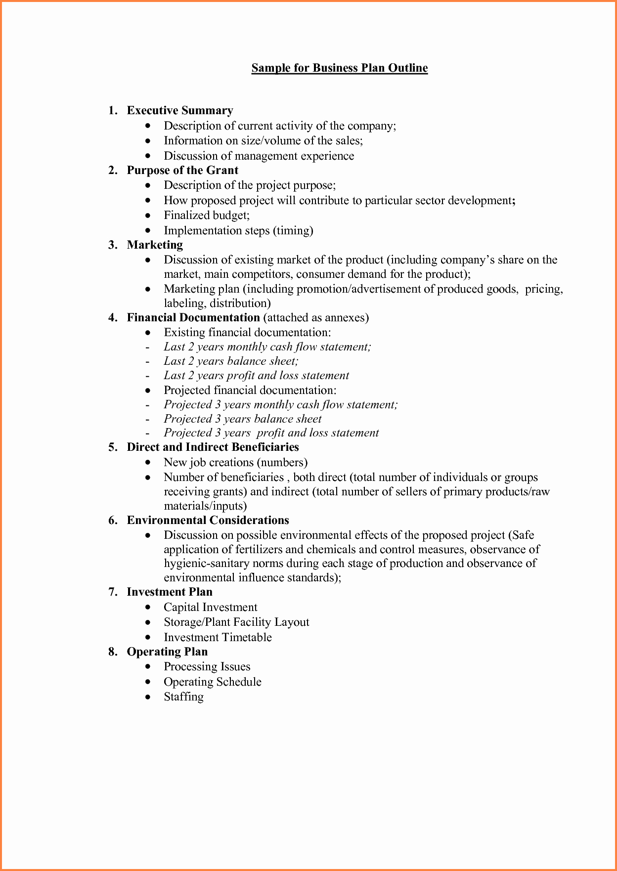 Proposal Outline Example Best Of 5 Business Plan Proposal Template
