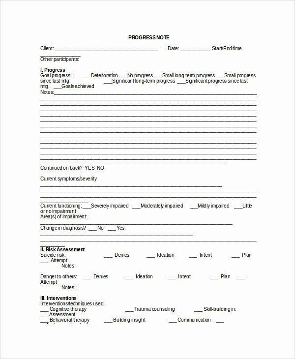Psychotherapy Progress Note Template Pdf Elegant therapy Notes Template