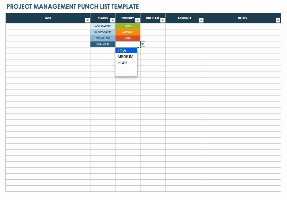 Punch List Template Excel Beautiful Free Punch List Templates