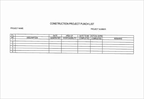 Punch List Template Excel Best Of Punch List Template 8 Free Word Excel Pdf format