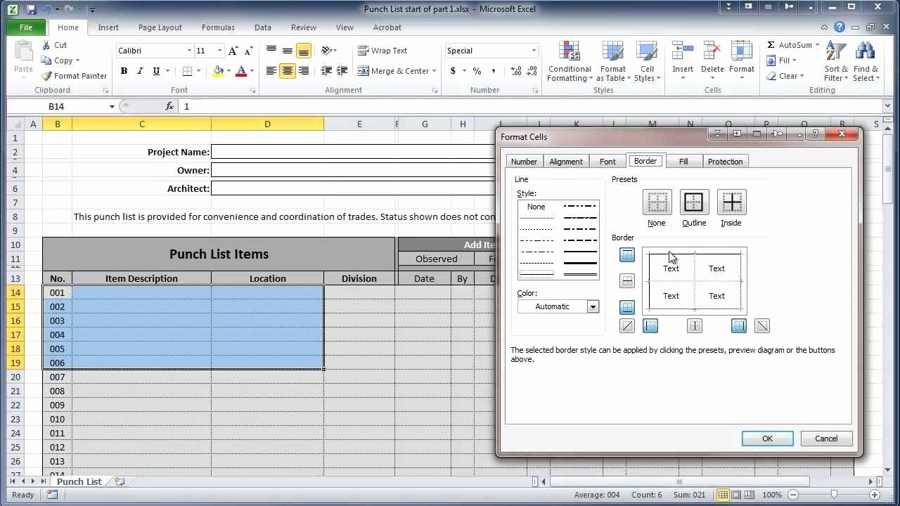 Punch List Template Excel Fresh Excel 2010 Construction Punch List Part I Create Table