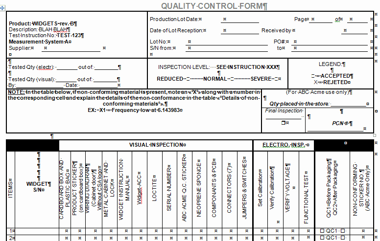 Quality Control Template Excel Best Of Quality Control form for Microsoft Word and Excel