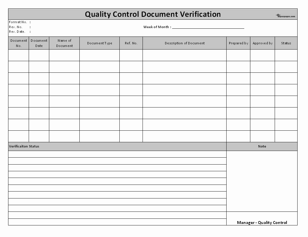Quality Control Template Excel New Quality Control Document Verification System