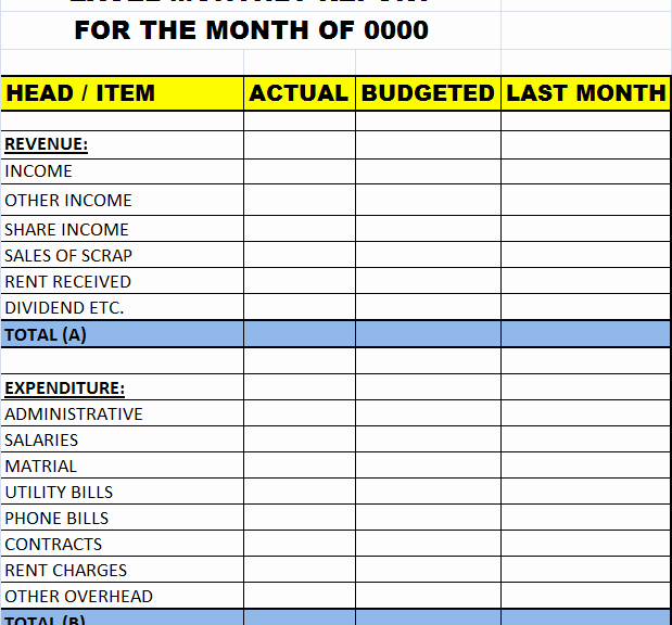 excel monthly report template